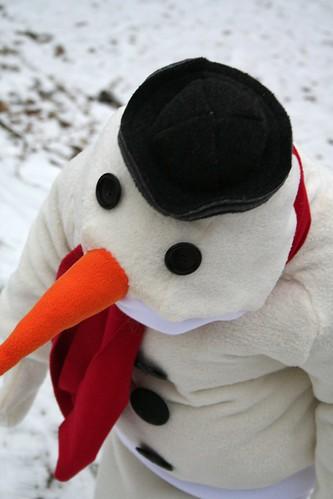 sneeuwman vogelperspectief
