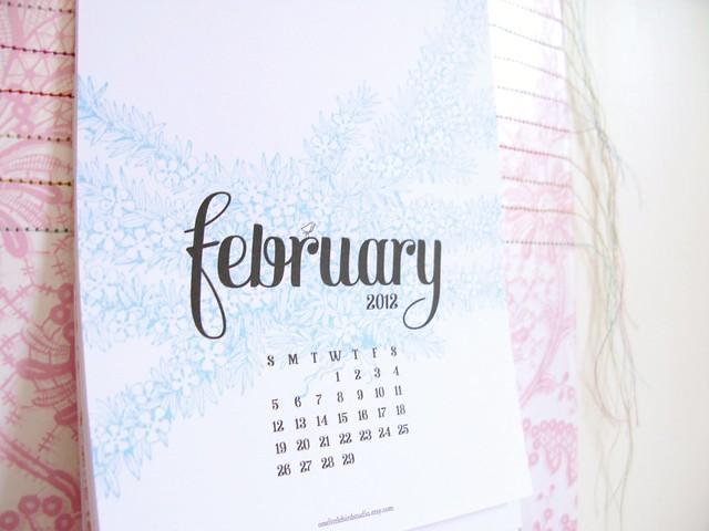 February / printable calendar by One Little Bird | Emma Lamb