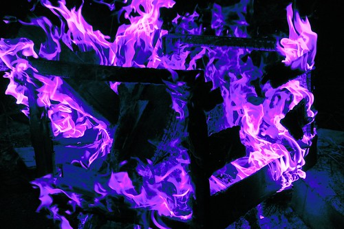 Blue and purple confligration, box fire, Broadview, Seattle, Washington, USA by Wonderlane