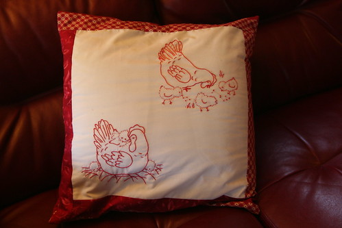 Redwork Pillow from Grandma