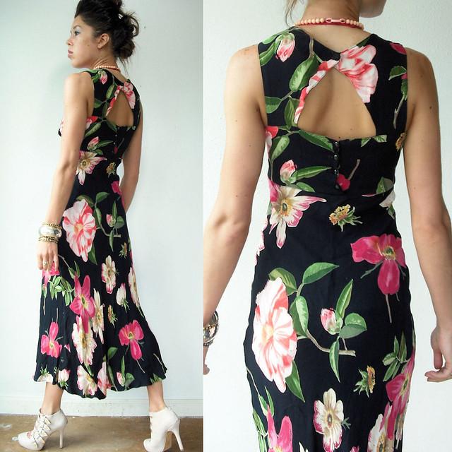 cut out back floral flapper dress2