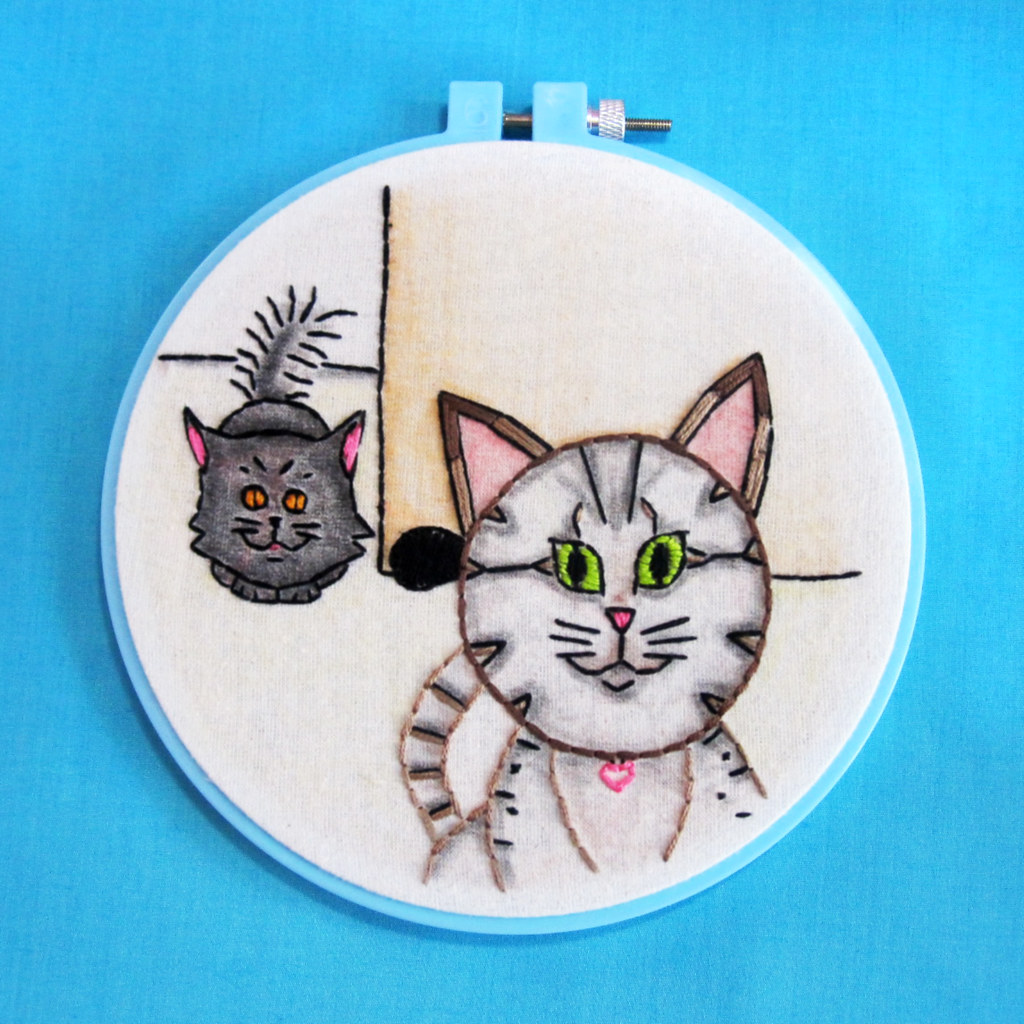 Embroidered Portrait of My Cats