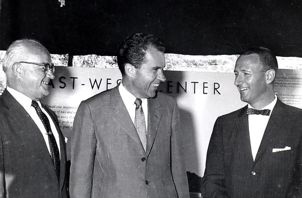 <p>Vice president Richard M. Nixon smiles broadly as UH president Laurence H. Snyder, left, and UH administrative vice president William Wachter look on. Nixon visited Manoa on August 3, 1960 to view the scale model of the proposed East-West Center.</p>