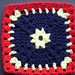 "6"" Red, Yellow & Navy Treble Square"