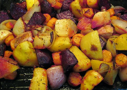 Neon root veggies (roasted beets, turnips, rutabaga, carrots & onions)