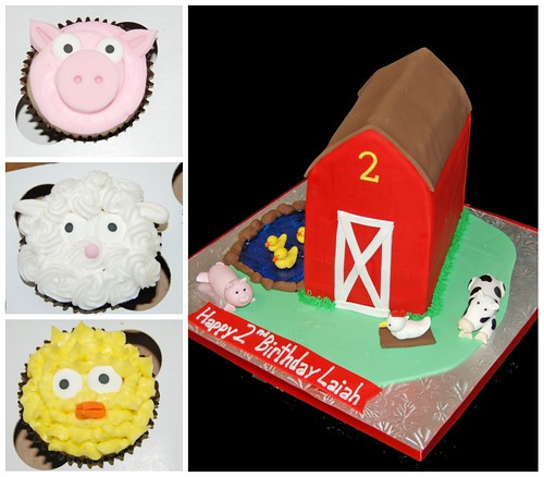 2nd Birthday Barn Cake and Farm Animal Cupcakes