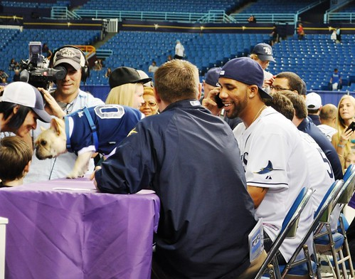 While David Price Chats at the MetroPCS Booth, His Dog Astro Meets Fans During Rays Fan Fest, Tropicana Field, Feb. 18, 2012