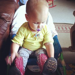 These boots are 8 years old! Big sister wore them!