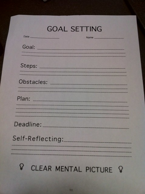 Goal Setting Sheet from John Nail