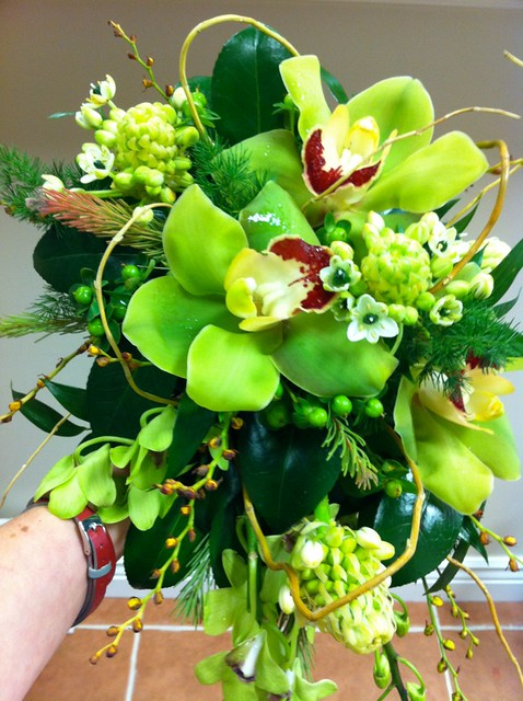 Green cymbidium orchid cascade bouquetGreen Cymbidium Orchid