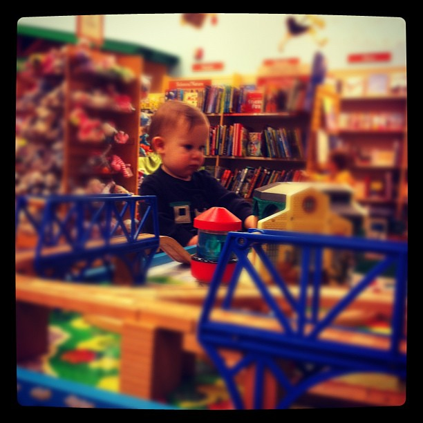 Exploring the bookstore train table.