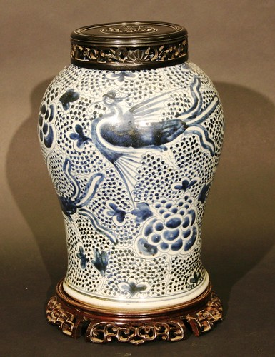 A Chinese Kangxi blue and white vase from the 18th century