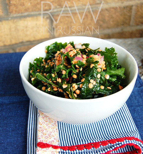 Marinated kale with sprouted lentils
