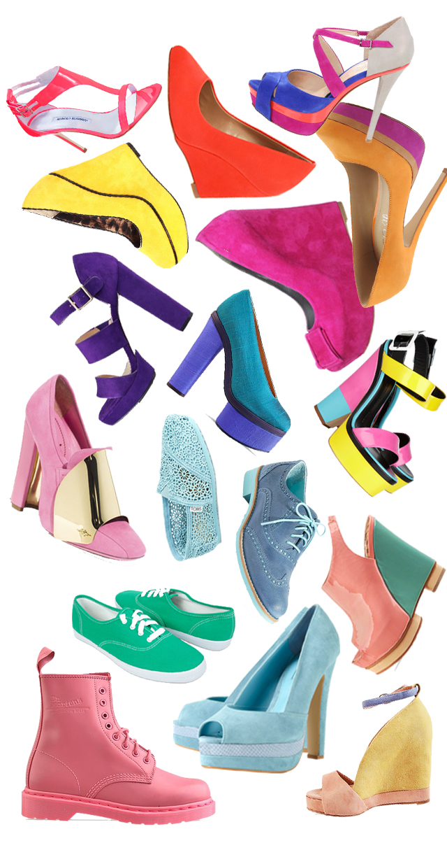 Spring Shoes, heels, wedges, flats, sneakers, colorful bright shoes -white background