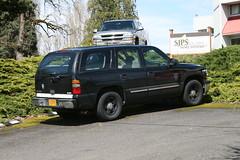 chevrolet tahoe(0.0), chevrolet(1.0), automobile(1.0), automotive exterior(1.0), sport utility vehicle(1.0), vehicle(1.0), compact sport utility vehicle(1.0), bumper(1.0), land vehicle(1.0),