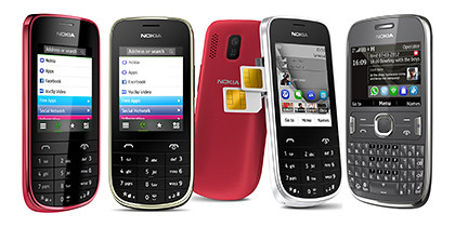 Nokia's Symbian feature phones. From left: Asha 203, 203 and 302.