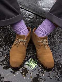 Damien's lavender socks & a wet Laughing Squid sticker