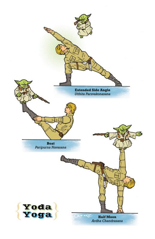 Yoga Star Wars luke e yoda