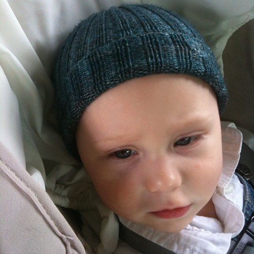 8 months and this might be the first pic of Josh wearing his Cosset. He's worn it lots, actually.
