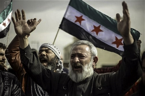 Syrians rally in front of the US Embassy