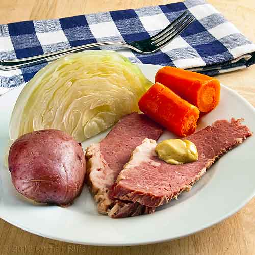 Corned Beef, Cabbage, Carrots, and Potato on Plate