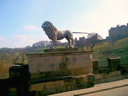 Lion sculpture on bridge in Alnwick