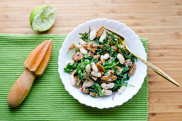 Roasted Kale Salad with Pecans Lime and Sesame Oil