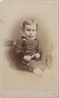 A Baby Boy with Large Buttons and a Hidden Mother - Carte de Visite