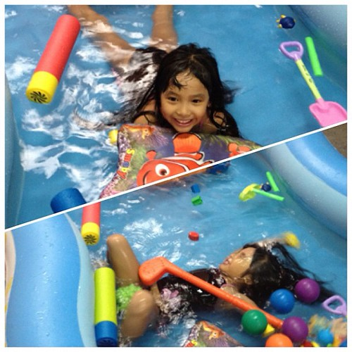 Pati sa inflatable free style at back stroke daw sya. Hehe
