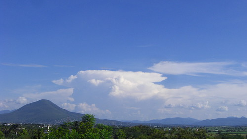 blue sky green home clouds landscape mexico view morelos sooc tetelpa