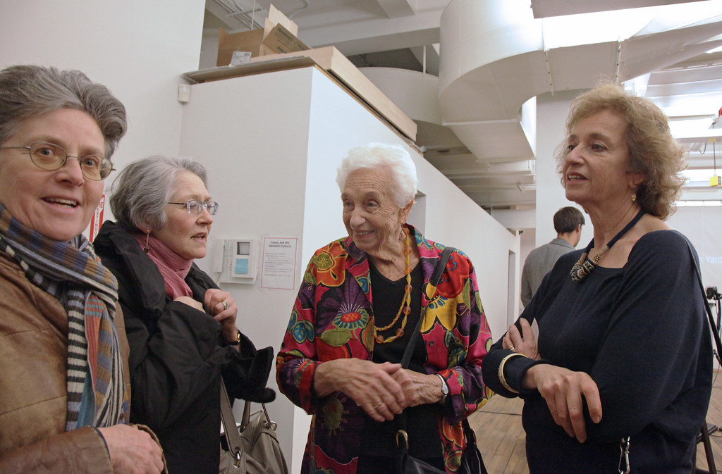 Guests visit with Goldsmith family members at the AAP NYC studio.
