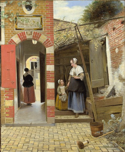 Pieter de Hooch - The Courtyard of a House in Delft [1658] by Gandalf's Gallery