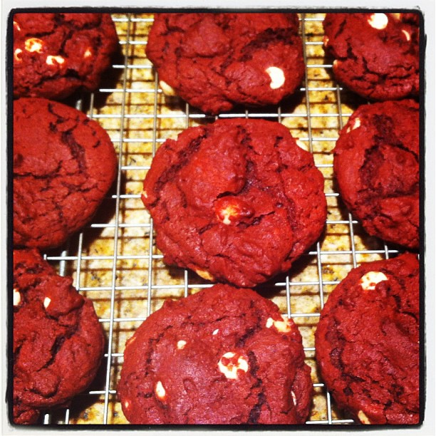 Red Velvet and White Chocolate Chip Cookies. Trying so hard not to eat them all!