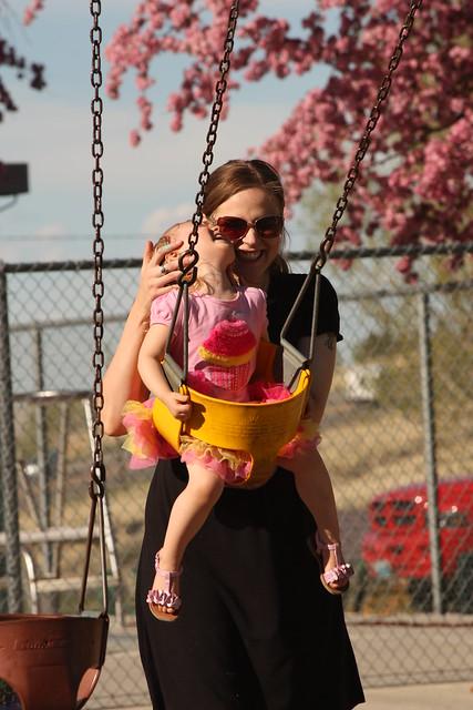 pushing my girl in swing