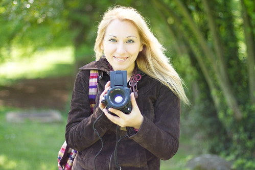 Blond wife with Hasselblad