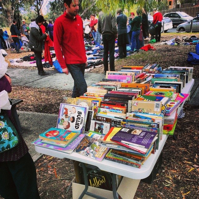 Book table at clothes swap. Awesome!