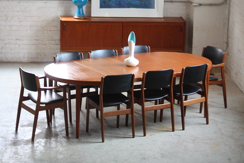 Dynamic Danish Mid Century Modern Expandable Teak Dining Table (Denmark, 1960s)