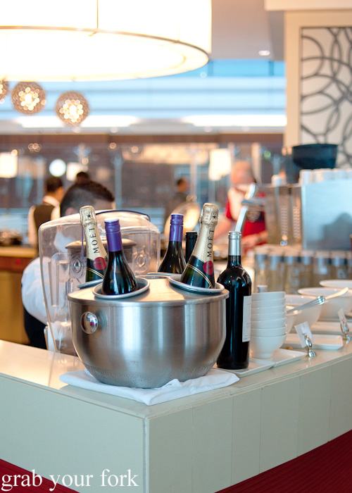 Moet champange on ice in the Business Class lounge at Dubai Airport