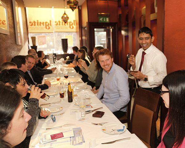 Business networking lunch at Ignite Indian restaurant, Haymarket, Edinburgh