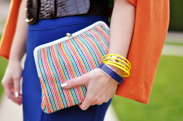vintage striped  clutch bag