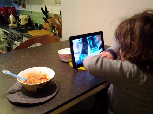 Poesy in London skypes with Alice at GDC San Francisco from the breakfast table 1, the flat, Hackney, London, UK.jpg