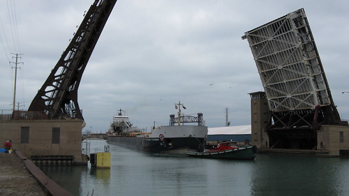 Canadian great lakes freighter ship passing through the opened East 95th Street drawbridge. Chicago Illinois USA. Sunday, March 4th, 2012. by Eddie from Chicago
