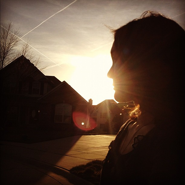 65/365+1 Afternoon Fading Sun #profile #selfie #silhouette #flare