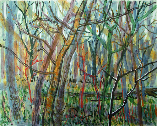 Spring-Trees-II, painting by Maia Oprea