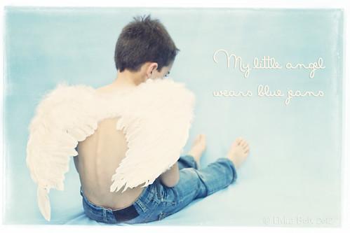 My little angel wears blue jeans