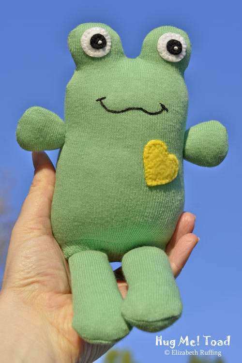 Green and Yellow Sock Toad, original art toy by Elizabeth Ruffing