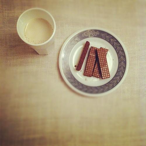 Almond milk + chocolate wafers