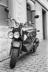 scooter, wheel, vehicle, monochrome photography, monochrome, black-and-white, vespa,