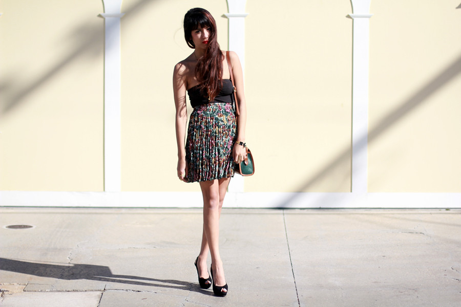 Tarte Vintage Floral Lookbook: Floral Sheer Pleated Skirt