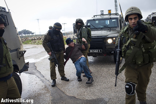 Protest against the occupation, Al-Ma'asara, West Bank, 16.3.2012